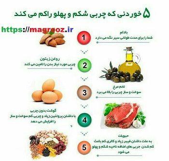 5 خوردنی که چربی شکم و پلو را کم می کند