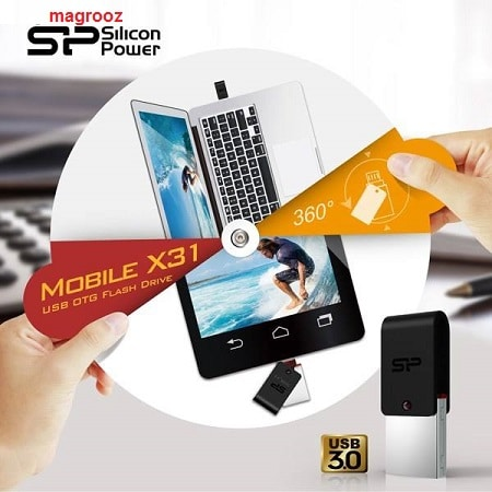راهنمای خرید بهترین فلش مموری 2020 - فلش مموری OTG سیلیکون پاور مدل X31 ظرفیت 32 گیگابایت (شروع قیمت از 53 هزار تومان) - مگ روز
